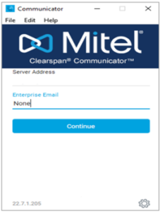 """Mitel log in screen with server address, showing """"None"""" entered into the Enterprise Email field."""