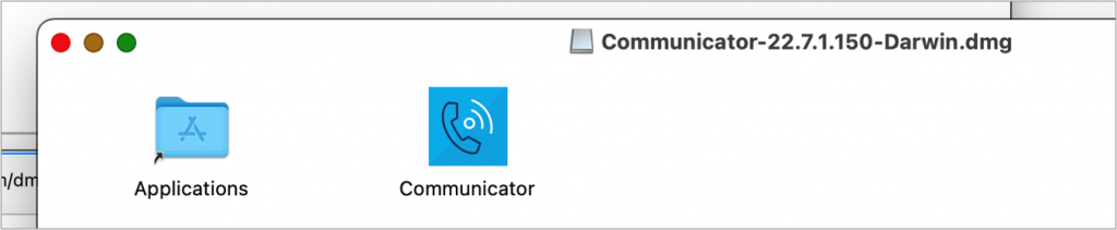 Mac dmg download file showing the shortcut to the Application folder and the Communicator file