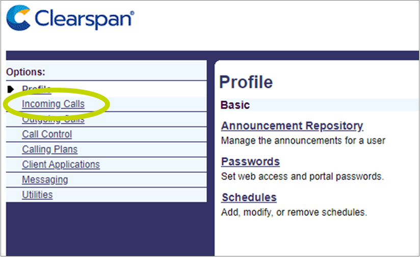"screenshot showing ""Incoming Calls"" on left menu"