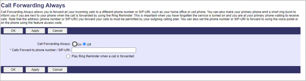 screenshot of where you enter the number to call forward
