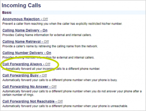 screenshot showing the location of the Call Forwarding link in the menu